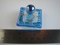 Dice : dreidel glass blue