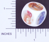 Dice : NON NUMBERED OPAQUE ROUNDED SOLID WHITE CURRENCY EURO 02