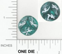 Dice : NON NUMBERED OPAQUE ROUNDED IRIDESCENT ARMORY SPECIALTY ATTACKING DIE BKTRADE 01