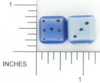 Dice : STONE D6 OCONEE MINERALS FIBER OPTIC GLASS BLUE 01