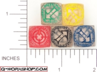 Dice : NON NUMBERED CLEAR ROUND SOLID Q WORKSHOP RUNIC SCATTER 01