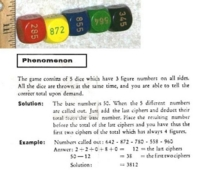 Dice : NON NUMBERED UNKNOWN NUMBER TRICK PHENOMENON