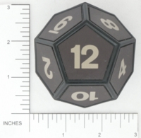 Dice : D12 OPAQUE SHARP SOLID LARGEST SOLID D12 BKTRADE