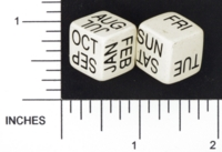 Dice : NON NUMBERED OPAQUE ROUNDED SOLID WHITE DATE DAY 01
