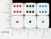 Dice : D6 OPAQUE ROUNDED SOLID KOPLOW PIPPED 1 TO 6 01