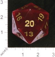 Dice : D20 CLEAR ROUNDED SOLID KOPLOW JUMBO 01