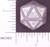 Dice : METAL ALUMINUM D20 01 CAVE BADGER 02 LARGER STAMPED AND  ETCHED