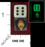 Dice : MINT40 UNKNOWN CHINESE FLAMING SKULL GLOW