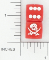 Dice : D6 OPAQUE ROUNDED SOLID CRYSTAL CASTE CUSTOM SKULL AND SABERS 01