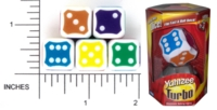 Dice : D6 2 OPAQUE ROUNDED SOLID PARKER BROTHERS TURBO YAHTZEE 01