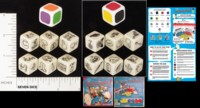 Dice : NON NUMBERED OPAQUE ROUNDED SOLID HAYWIRE GROUP DICECAPADES PICTURE AND COLOR DICE 01