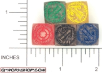 Dice : NON NUMBERED CLEAR ROUND SOLID Q WORKSHOP ELVEN SCATTER 01