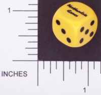 Dice : D6 OPAQUE ROUNDED SOLID YELLOW NORTHUMBRIA GAMES