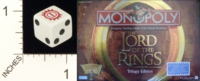 Dice : D6 OPAQUE ROUNDED SOLID PARKER BROTHERS LORD OF THE RINGS MONOPOLY 01