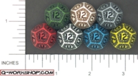 Dice : D12 OPAQUE ROUND SOLID Q WORKSHOP SKULLY 01