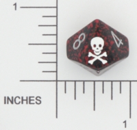 Dice : D10 OPAQUE ROUNDED SPECKLED CHESSEX SKULL AND CROSSBONES 01