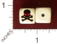 Dice : MINT31 YAK YAKS SKULL AND CROSSBONES WITH RED EVIL SOCKETS 01