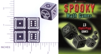 Dice : D6 OPAQUE ROUNDED SOLID BLACK CB PUBLISHING SPOOKY MATH GAMES 01