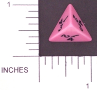 Dice : D4 OPAQUE ROUNDED SOLID PINK KOPLOW 01