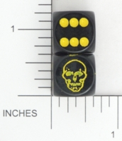 Dice : D6 OPAQUE ROUNDED SOLID FLYING BUFFALO SKULL 02