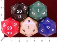 Dice : D20 OPAQUE ROUNDED SOLID KOPLOW NEW MOLD AND MATERIAL JUMBO 01