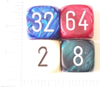Dice : NON NUMBERED OPAQUE ROUNDED SOLID DOUBLING 1