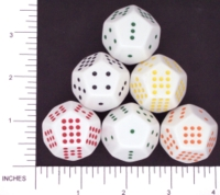 Dice : D12 OPAQUE ROUNDED SOLID WHITE KOPLOW PIPPED 01