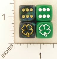 Dice : D6 OPAQUE ROUNDED SOLID SWIRL CHESSEX CUSTOM 01 FOR JSPASSNTHRU SHAMROCK