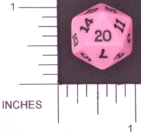 Dice : D20 OPAQUE ROUNDED SOLID PINK KOPLOW 01