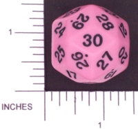 Dice : D30 OPAQUE ROUNDED SOLID PINK KOPLOW 01