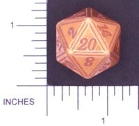 Dice : METAL ALUMINUM D20 01 CAVE BADGER 05 GOLD ETCHED EDGES