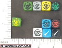 Dice : NON NUMBERED OPAQUE ROUND SOLID Q WORKSHOP ORC SCATTER 01