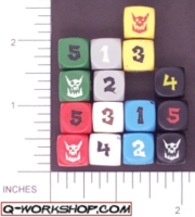 Dice : NUMBERED OPAQUE ROUNDED SOLID Q WORKSHOP ORC 02