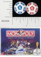 Dice : D12 OPAQUE ROUNDED SOLID WADDINGTONS WORLD CUP 98 MONOPOLY 01