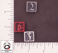 Dice : NUMBERED OPAQUE ROUNDED SOLID Q WORKSHOP SKULLY II 01