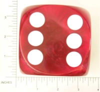 Dice : LG PLASTIC 2 D6 OPAQUE ROUNDED IRIDESCENT KOPLOW RED